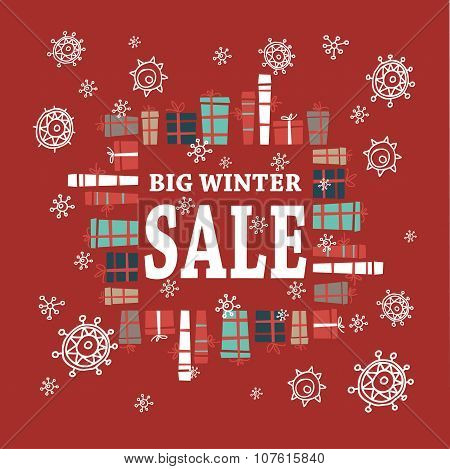 Winter sale background with white letters,gifts and snowflakes.  Vector illustration