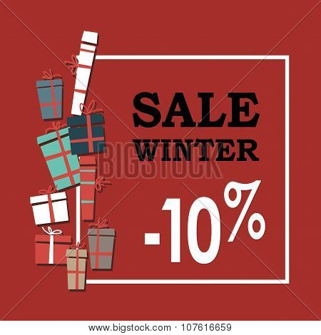 Winter sale background with black letters,gifts and snowflakes.  Vector illustration