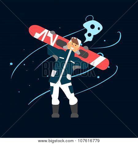 Boy Holding Snowboard. Vector Illustration