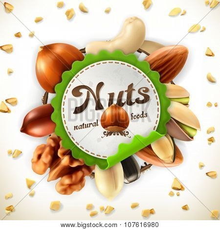 Nuts, vector label