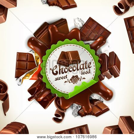 Chocolate, vector label