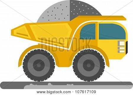 Big yellow truck. Cartoon vector illustration.