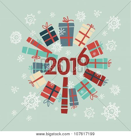 Happy new year 2016 greeting card design element. Vector. Holiday background.