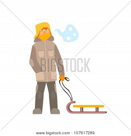 Boy with Sled. Winter Vector Illustration