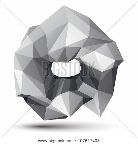 3D Vector Abstract Design Object, Polygonal Complicated Figure. Grayscale Three-dimensional Deformed