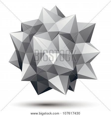 Vector Digital 3D Abstraction, Geometric Polygonal Element. Spatial Technological Contrast Shape