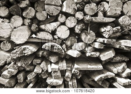 Black and white firewood texture