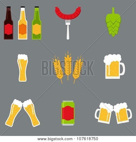 Isolated beer icons set. Beer icons collection.