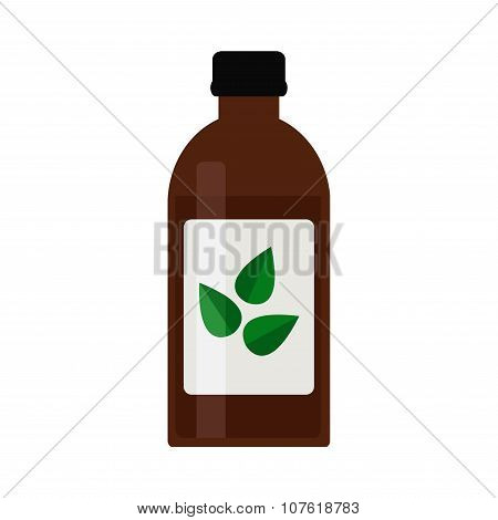 Cough syrup bottle. Brown bottle isolated icon on white background.