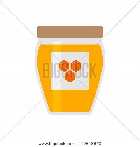 Honey icon. Honey jar with cover and honeycomb logo.