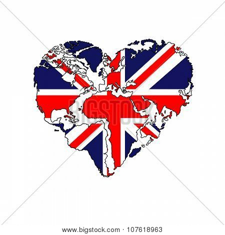 Hand Drawn logo - background - heart-shaped world map