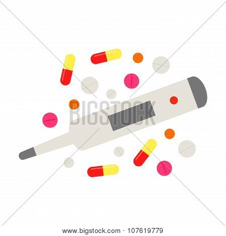 Pills and thermometer. Isolated pills and thermometer icons on white background.