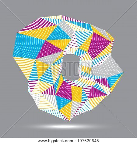 Abstract Asymmetric Vector Colorful Stripy Object, Complicated Geometric Shape With Parallel Lines.