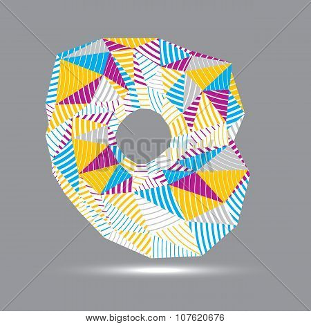 3D Contemporary Style Abstract Stripy Vector Object, Cybernetic Futuristic Form. Technology Idea.