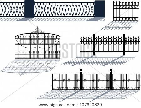 illustration with five decorated fences isolated on white background