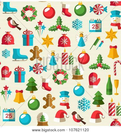 Seamless Winter Pattern With Christmas Flat Icons Isolated On Be