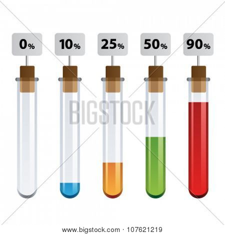 vector test tubes percent infographic