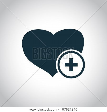 Heart and cross medical symbol
