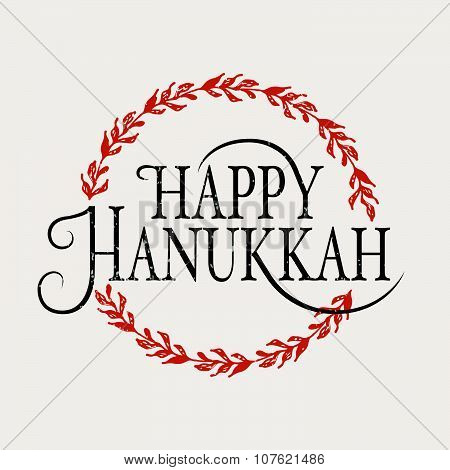 Happy Hanukkah Logotype, Badge And Icon Typography