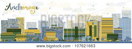 Abstract Anchorage (Alaska) Skyline with color Buildings. Vector Illustration. Business and tourism concept with place for text. Image for presentation, banner, placard and web site