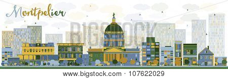 Abstract Montpelier (Vermont) city skyline with color buildings. Vector illustration. Business travel and tourism concept with modern buildings. Image for presentation, banner, placard and web site