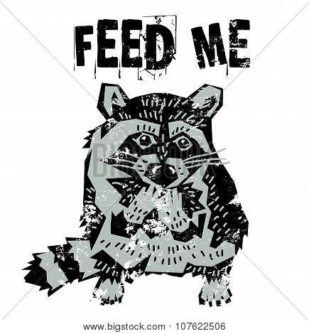 Cute raccoon hungry animal