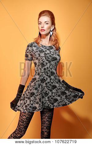 Fashion beauty portrait woman in gloves. Vintage