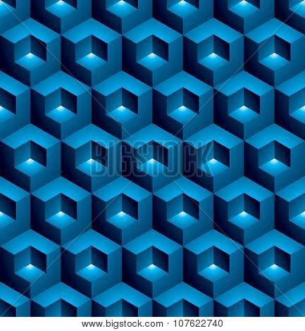 Regular Colorful Textured Endless Pattern With Three-dimensional Cubes, Continuous blue Geometric