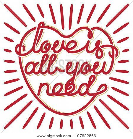 Heart typography. Love is all you need. Love typography. Custom font lettering