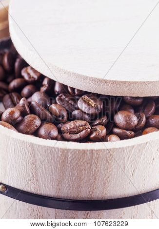 Coffee Beans In Barrell