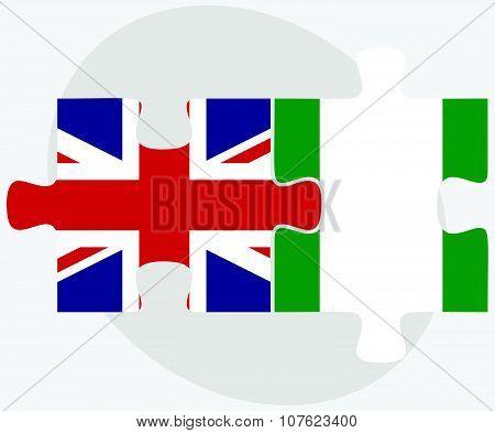 United Kingdom And Nigeria Flags