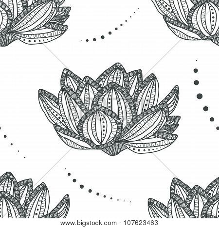 Lotus. Seamless pattern with magic flower - anti stress coloring page for adult isolated on white ba