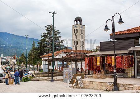 Church, shops and street view in downtown of Skopje, Macedonia