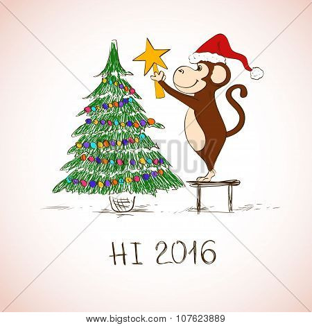 New Year Card With Funny Monkey Decorate The Christmas Tree.
