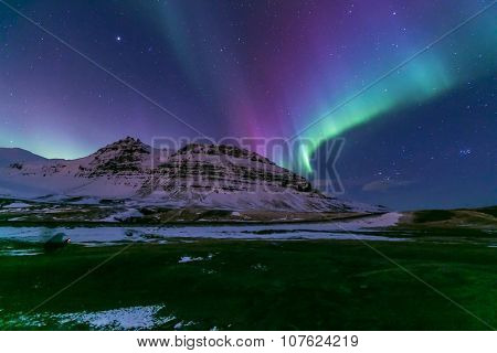 The Heart Northern Light Aurora borealis at Kirkjufell Iceland