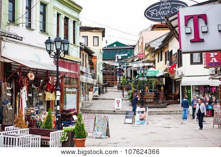 Shops and street view in downtown of Skopje, Macedonia