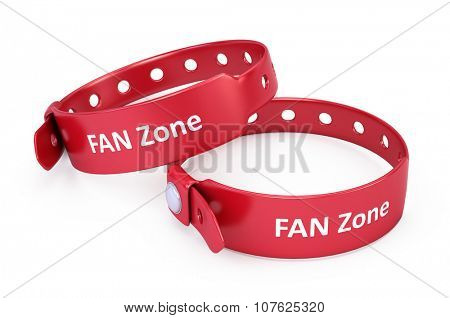 two red fanzone bracelets isolated on white