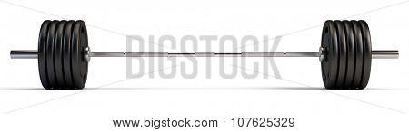 Barbell over white background