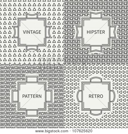 Set of hand drawn line ink polygon hipster seamless pattern with triangle. Vintage frames. Wrapping