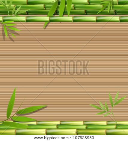 Green Bamboo Grass Like Frame On Brown