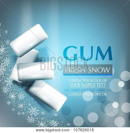 vector background with bubble gum on gray-blue background with snowflakes (imitation 3d)