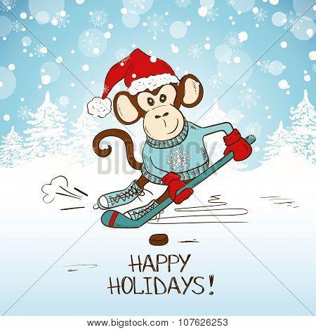 Funny Cartoon Monkey Playing Hockey.
