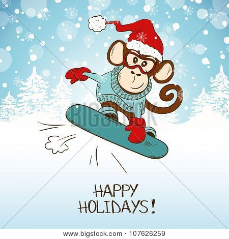 Funny Cartoon Snowboarding Monkey.