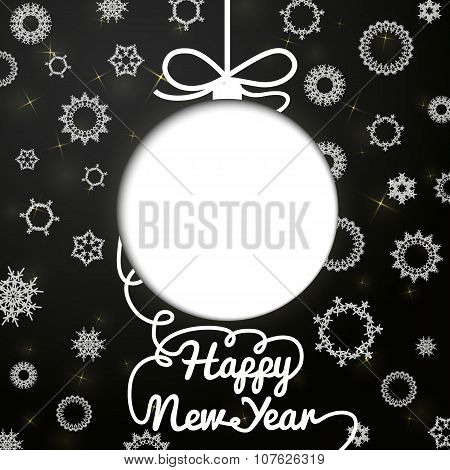 New year handwritten swirl lettering greeting card on black paper with snowflakes, and cut through b