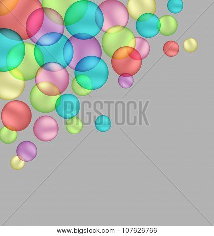 Multicolored Bubbles Isolated On Grey
