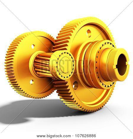 3D Golden Metallic Gears