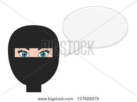 Woman In Niqab With Speech Bubble