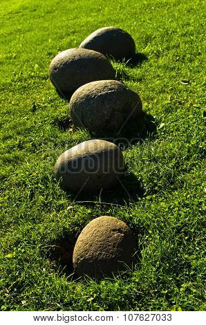 Traditional rounded stones in front of house at Fljotsdalur