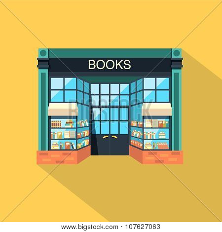 Bookstore. Store Building In Flat Design Style
