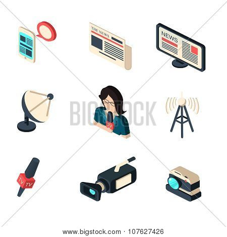 Journalist newspaper and tv journalism profession icons collection